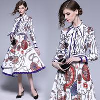 Vestido de fiesta de moda collar de la impresión del arco de manga larga túnica de oscilación grande plisado Midi Fiesta de la vendimia elegante señora de las mujeres Vestidos 6149