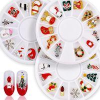 12 unids Navidad Brillo 3D Nail Art Decorations Charms Fake Nails Accessoires Muñeco de nieve Árbol de Navidad Santa Claus