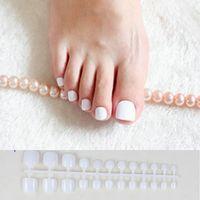 24 pcs Branco Acrílico Toe Nails Meninas Falso Praça de Imprensa Sobre As Unhas Para O Pé Articficial Doces Macaron Cor Unhas Falsas