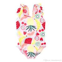 طفل الفتيات ملابس السباحة قطعة واحدة ملابس السباحة الفاكهة البطيخ طباعة الاطفال ملابس الصيف لطيف بيكيني جديد 2019