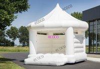 Casa inflável nova do jumper do casamento, casa frouxinha branca frisca do casamento de 5x4m Bouncy Casa para adultos n crianças, barraca do partido