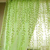 Netter Willow Blatt Tüll Vorhang, Jalousie Voile Pastoral Stil Willow Blumenfenster Dekorative Cortinas für Schlafzimmer Wohnzimmer