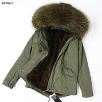 Kadın Kürk Faux OFTBUY 2021 Kış Ceket Kadınlar Gerçek Ceket Parka Rakun Yaka Liner Gevşek Ordu Yeşil Streetwear Moda