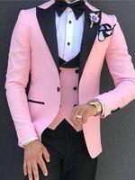 Custom Design Rosa 3 Stück Anzug Herren Hochzeit Smoking Exzellente Bräutigam Smoking Herren Geschäfts Abendessen Prom Blazer (Jacke + Pants + Krawatte + Weste) TL105