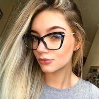 Kadınlar için Moda Kare Gözlük Çerçeveleri Trendy Marka Seksi Kedi Gözlük Çerçeve Optik Bilgisayar Gözlükler ulculos Armacao