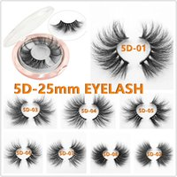 100% 25mm lashes 5D Mink Eyelashes False Eyelashes Crisscros...