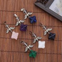 yaşamın yıldızı dış ticaret takı kaynağı Çiçek kolye sekizgen toptan Doğal taş kristal Merkaba kolye
