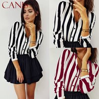 New Spring Autumn Sexy V Neck Women Shirts Blouse Striped Long Sleeve Irregular Work Office Blouse Shirt Camisas Mujer