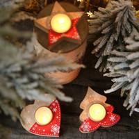 4 pc / ensemble Noël Chandelier De Bureau Ornements En Bois Arbre Étoile Forme De Coeur Lumière De Thé Bougeoir pour le Festival Vitrine Décoration de La Maison