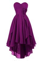 Sweetheart High Låg Asymmetrisk Brudtärna Klänning Chiffon Ruffles Party Prom Homecoming Dresses Lace-Up Back