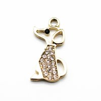Hot selling 20pcs lot Crystal dog golden Dangle Charms Lobst...