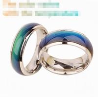 6-10 Anillo de cambio de anillo de acero inoxidable Anillos de humor Sentimiento / emoción Anillo de temperatura Ancho 6 mm Joyería inteligente Venta directa de fábrica