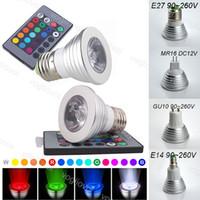 LED-Zwiebeln 3W RGB-Scheinwerfer 16 Farbe Multicolor E27 GU10 MR16 mit 24 Tasten Fernbedienung Aluminium für Weihnachten Halloween Home Party Eub