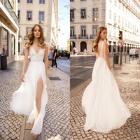 2019 Berta White Beach Wedding Dresses A Line V Neck Lace Ba...