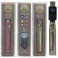 Brass Knuckles Batterie Goldhölzernes 650mAh 900mAh vorheizen Batterie VV Variable Voltage Vape Pen mit USB-Ladegerät 510 Gewinde Vape Cartridge