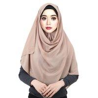 جودة عالية التجعيد الشيفون الحجاب وشاح شالات أزياء السيدات عادي يلف مسلمة عقال والأوشحة الطويلة / وشاح 180 * 75CM