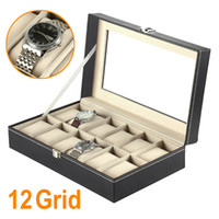 12 Grid Faux Leather Watch Display Box Case Black