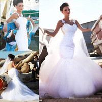 Luxury Fashion Wedding Dresses Romantic Mermaid Lace Tulle L...