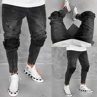 Black Jeans Summer Skinny Pleated Ripped Mens Designer Jeans...
