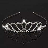 Hermosa Brillante Cristal Nupcial Tiara Partido Pageant Plateado Corona Diadema Barato Boda Tiaras Accesorios MMA1625