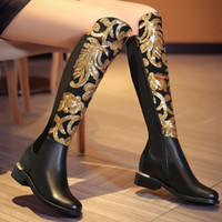 Legzen Calidad Mujer Rodilla Botas Altas Brillo Cuero Real Tacones Bajos Negro Botas de montar Zapatos Mujer Tallas grandes