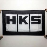 HKS Drapeau Noir Blanc 3x5ft 150x90 cm Impression 100D polyester Intérieur Extérieur Décoration drapeau avec oeillets en laiton Livraison Gratuite