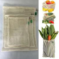 3pcs / Set reutilizável de algodão de malha das compras na mercearia produzir sacos de legumes frutas frescas Bags Totes Mão Início Bolsa de armazenamento cordão Bag WX9-1173