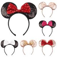 Baby-Mädchen Pailletten großen Bogen Stirnband Haar-Accessoires Kinder-Maus Ohr-Haar-Stöcke Kinder Kopfbedeckung Boutique Haarschmuck ZFJ846