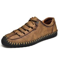 Large Size 47 48 morbido comodo scarpe casual fondo in cuoio indossabile Low Top Uomini Mocassini Lace-up a mano KPOCCOBKN Shoes