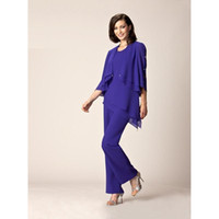 Royal Blue Mother Of The Bride Pant Suit Half Sleeve Chiffon...