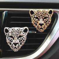 Bling Désodorisant En Auto Intérieur Décor voiture Aroma Diffuseur Vent clip diamant Leopard Parfum solide Accessoires Auto Car