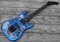 Benutzerdefinierte Tom Morello Arm Die obdellose Metallblaue E-Gitarre-Kopie EMG-Pickups, Floyd Rose Tremolo-Brücke Verriegelungsmutter, schwarz-haraware