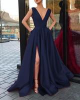 Gömme Kırmızı Gelinlik Modelleri Slits Derin V Yaka Saten Uzun Parti Elbise İçin Mezuniyet Akşam Töreni Elbiseler Yeni Özel Durum Abiyeleri 2019