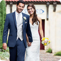 Custom Made Navy Blue Wedding Suits For Men Suits Blazer Bri...