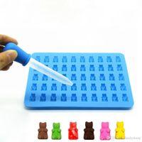 BPA FREE FDA المعتمدة الغذاء الصف 50 تجويف صغير الثلج مكعب الحلوى الشوكولاته سيليكون غائر الدب العفن مع القطط