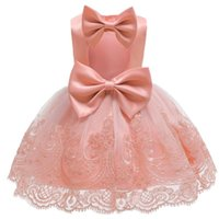 Estate Backless Big Bow neonato Baby Girl Dress Lace Tutu Battesimo Abiti per le ragazze Birthday Party Wedding Baby Clothing