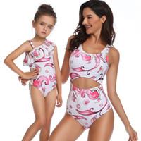 Yeni Yaz Anne ve kızı yüzme çocuklar seashell mermaid kaplumbağa baskılı falbala siyam mayolar kızlar SPA plaj mayo Y1068