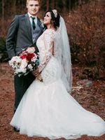 Vestidos elegantes de la boda del jardín País sirena con el tren desmontable cuello de la joya largas apliques de encaje de manga Botón cubierto Vestidos de novia Volver