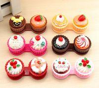 Carino crema cupcake lenti a contatto stili cassa della scatola della torta della scatola del compagno obiettivo Lenti caso Contact Lens Storage Accessori Set