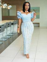 2019 Gorgeous ASO ASO Africano Africano fuori dalla spalla Abiti da sera increspati con appliques floreali in pizzo floreale 3D Plus size lunghe abiti da ballo elegante
