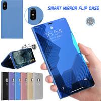 Officiel métallique placage intelligent Miroir fenêtre Support Cover Case flip Pour Xiaomi redmi Note 8 Pro 8A 7 7A 6 5 Plus S2 Go K20 Anti-choc