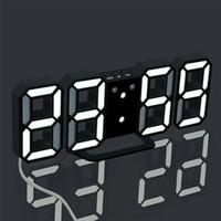 Reloj de pared LED 3D Diseño moderno Digital Table Reloj de alarma Nightlight para la decoración de la sala de estar del hogar Envío gratis