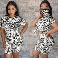 Duas peças vestido de leopardo esporte mulheres com máscara conjunto casual tee tops biker shorts loving sweatpants terno trajeto roupas de harmonização