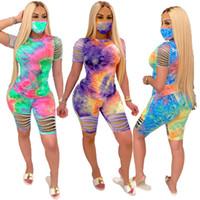 Tasarımcı Kadın Şort Kıyafetler Kravat Boya Eşofman Gömlek Üst Delik Pantolon 2 Parça Set Bayanlar Sweatsuits Giysileri DHL