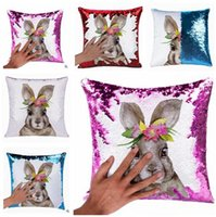 Ostern Designer Kissenbezüge Unicorn Rabbit Reversible Pailletten dekorative dekorative Home Schlafzimmer Sofa Decor Party ändern Kissenbezug