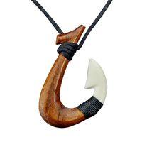 Wisiorek prymitywne plemiona biżuteria Handmade rzeźbione drewno haczyk Naszyjnik Yak Bone Naszyjniki do surfowania