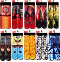 Moda amantes Primavera lazer esportes meias 3D impresso meados de tubo de meias esportivas meias masculinas moda meias e meias das mulheres