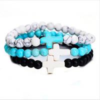 Boho hecha a mano joyas cruz pulseras de moda del estilo elástico cuerda natural pulsera de cuentas para las mujeres de cumpleaños de regalo al por mayor