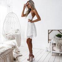E-BAIHUI Hollow Out White Dress Sexy Women Mini Chiffon Dress Criss Cross Plunge V-Neck Sleeveless Crochet Lace Dress Black L681