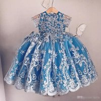 Maniche corte d'epoca blu Flower Girls 'Abiti gioiello collo pieno pizzo Applique Big Bow Covered Button Back Girl Pageant Party Gowns